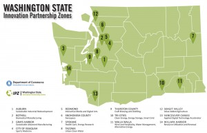 A map showing Washington State's 14 Innovation Partnership Zones