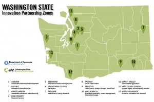 Map of Innovation Partnership Zones in Washington State in 2015