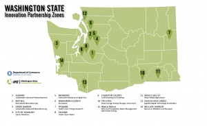 A map showing Washington State's Innovation Partnership Zones