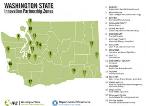 Washington State's Innovation Partnerships Zones shown on a map in 2014