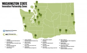 A map of the 2015 Washington State Innovation Partnership Zones