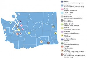 A map of Washington State's 2012 Innovation Partnership Zones