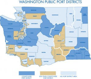 A map of Washington State's public port districts