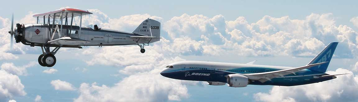 Boeing's first and latest commercial airliners fly in formation.