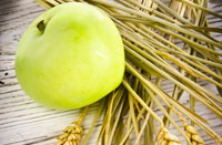 A green apple resting on chaffs of wheat