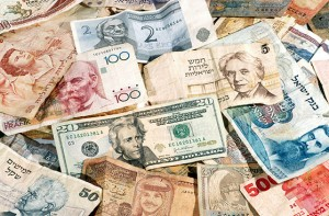 A pile of international currency