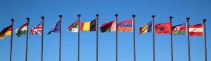 International flag fly in a row.