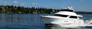 A yacht is taken for a test near Bainbridge Island.