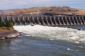 A spillway at a Columbia River dam
