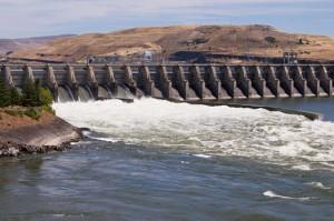 A Columbia River dam spillway