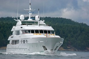 A super luxury yacht goes for a test in Puget Sound