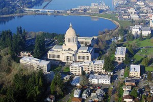 An overhead view of the legislative campus in Washington's capital