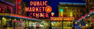 The front of the Pike Place Market in Seattle, shot on a rainy night