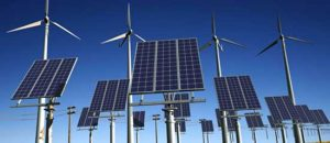 Solar panels and wind machines produce clean energy