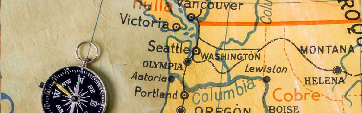A hand drawn map showing Washington State and its proximity to border states and provinces.