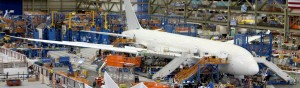 A Boeing 787 Dreamliner undergoes final assembly