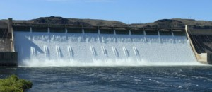 Water pours over the spillway of the Grand Coulee Dam