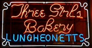 Three Girls Bakery Luncheonette sign in the Pike Place Market