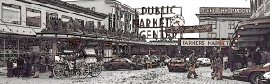The Pike Street Market with a horse and carriage in the front