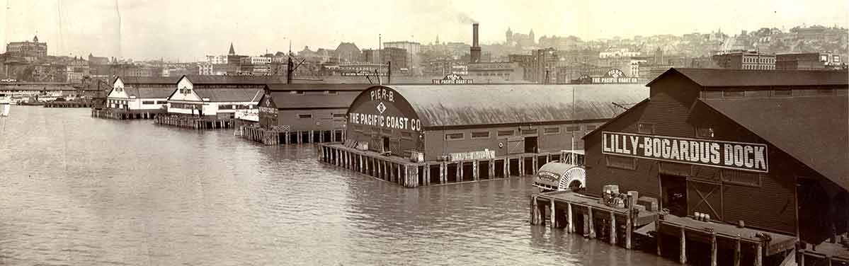 The Seattle waterfront at the turn of the 20th Century