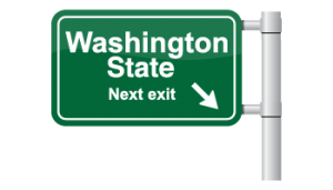 An exit sign that says Washington State Next Exit