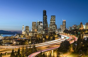 The Seattle skyline as nigh falls, shot from the south looking north