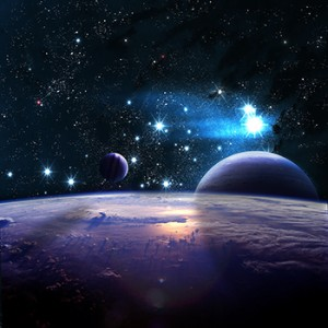 An artist's impression of a distant universe with planets and stars