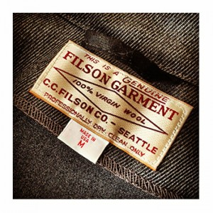 A garment tag from the CC Filson Company