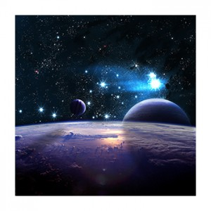 An illustration of planets and stars beyond