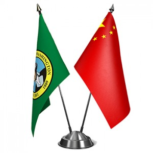China and Washington State flags