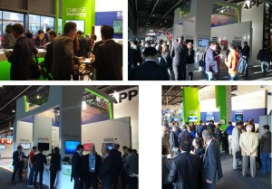 Four photos of a networking event in the 2016 Mobile World Congress Washington State booth