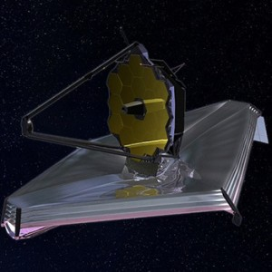 An illustration of the new Webb telescope in development