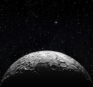 The surface of the moon with a star field in the background