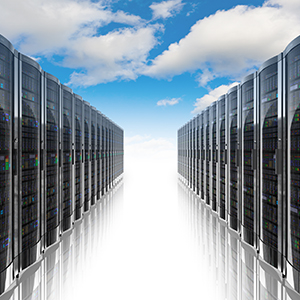 Two rows of servers used for cloud computing