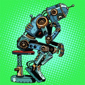 An illustration of a robot on a chair, thinking