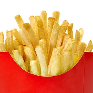 A container of french fries