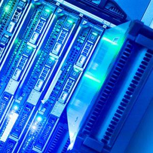 Racks of servers used in cloud computing