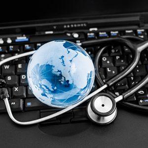 stethoscope, globe and computer