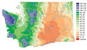 Map of annual precipitation in Washington State