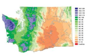 Map of Washington State showing annual precipitation