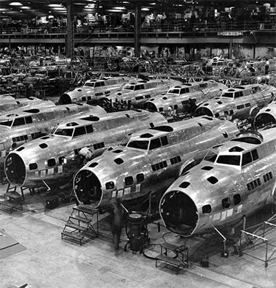 Boeing B-17 bombers roll off the assembly line at the Seattle plant.