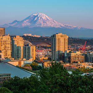Seattle skyline and Mt Rainier