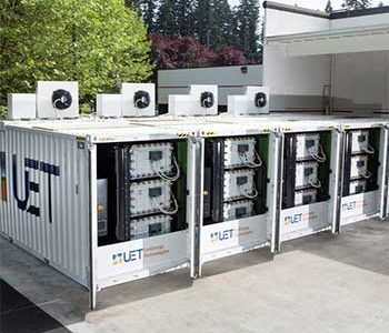A row of Uni-Energy Technologies flow-battery storage systems provide storage for clean energy sources