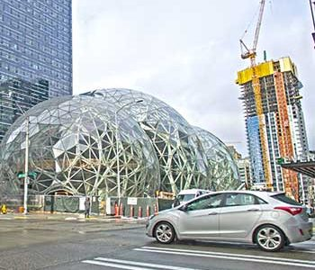 Amazon's new spheres take shape in downtown Seattle, part of the state's big building boom