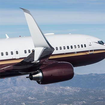 Aviation Partners' blended winglets shown on a Boeing 737 in flight