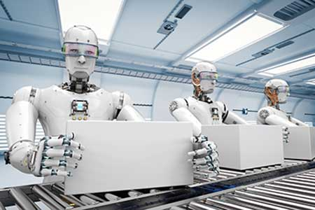 Robots work on a futuristic production line, relying on artificial intelligence to guide their work.