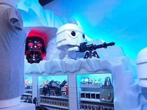 Darth Vador and a Storm Trooper stand watch in the Star Wars section of Funko's new flagship store and headquarters in Everett, Washington.