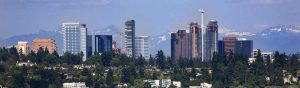 The business skyline of downtown Bellevue, Washington.