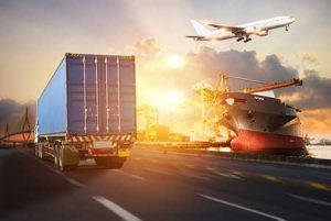 Various methods of transporting goods - a truck, airplane and ship - are shown in a montage.