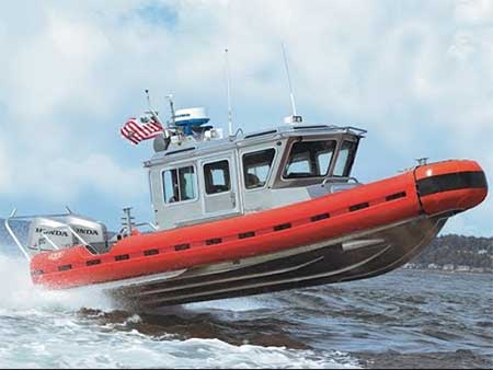 A SAFE Boat, built in Washington State's Kitsap County, undergoes sea trials.